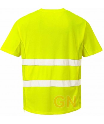 Camiseta bicapa manga corta transpirable amarillo A.V.