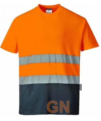 Camiseta bicapa bicolor alta visibilidad manga corta naranja A.V./marino