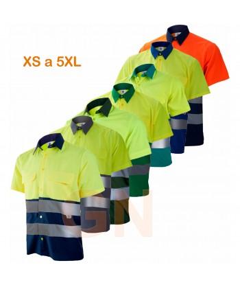 Camisa manga corta, bicolor en alta visibilidad