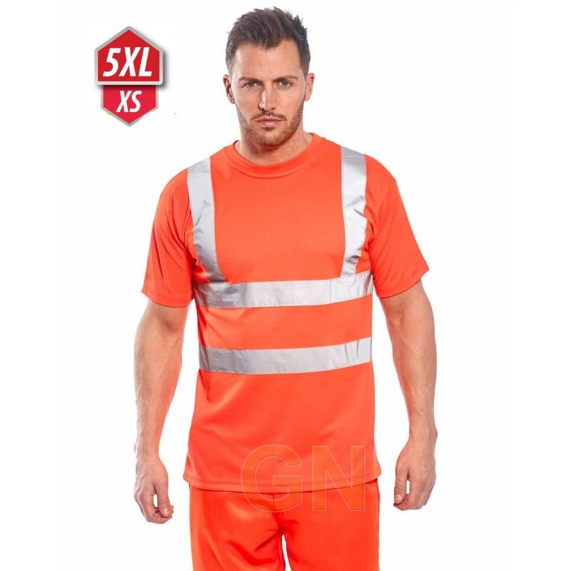 Camiseta manga corta, alta visibilidad color naranja