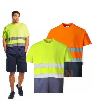 Camiseta bicapa bicolor alta visibilidad manga corta