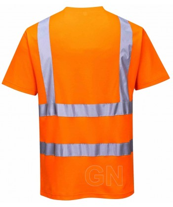 Camiseta bicapa alta visibilidad manga corta naranja A.V.