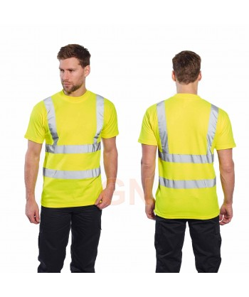 Camiseta bicapa alta visibilidad manga corta amarillo A.V.