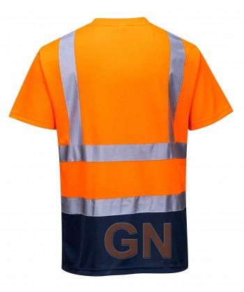 Camiseta bicolor alta visibilidad transpirable naranja flúor/marino