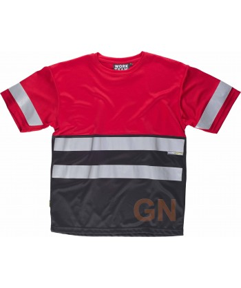 Camiseta bicolor roja y negra con cintas reflectantes