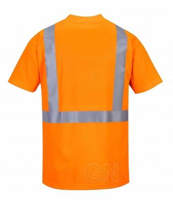 Camiseta alta visibilidad manga corta con bolsillo