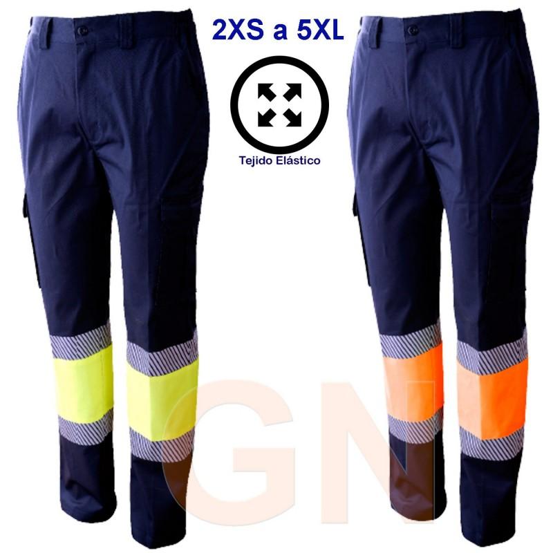 Pantalón multibolsillos elástico, bicolor alta visibilidad con cinta segmentadas