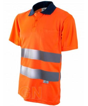 Polo manga corta alta visibilidad naranja A.V./marino