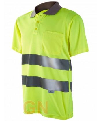 Polo manga corta alta visibilidad amarillo A.V./gris