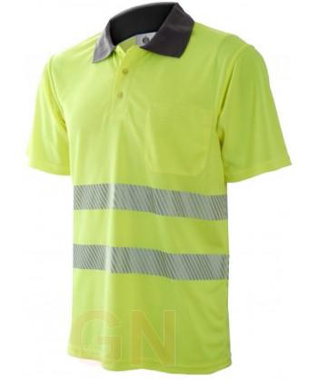 Polo de manga corta, bicolor amarillo alta visibilidad/gris con cintas segmentadas