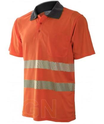 Polo de manga corta, bicolor naranja alta visibilidad/gris con cintas segmentadas