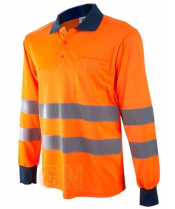 Polo manga larga naranja alta visibilidad/marino