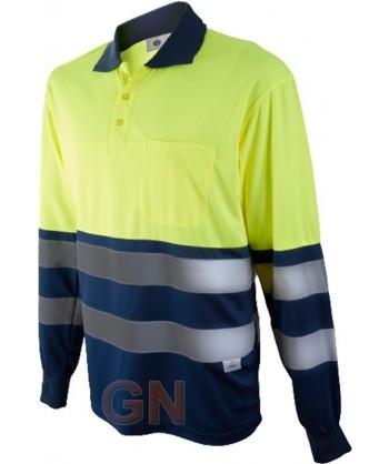 Polo de manga larga bicolor alta visibilidad marino/amarillo A.V.