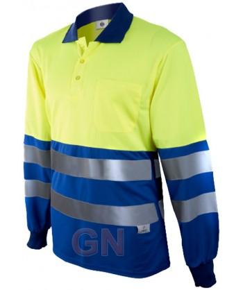 Polo de manga larga bicolor alta visibilidad azulina/amarillo A.V.