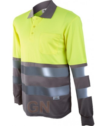 Polo de manga larga bicolor alta visibilidad gris/amarillo A.V.
