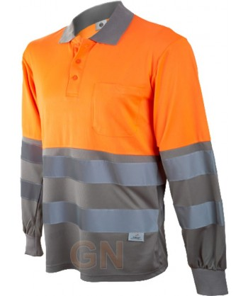 Polo de manga larga bicolor alta visibilidad gris/naranja A.V.
