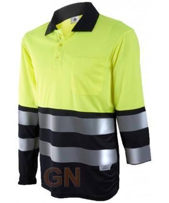 Polo de manga larga bicolor alta visibilidad negro/amarillo A.V.