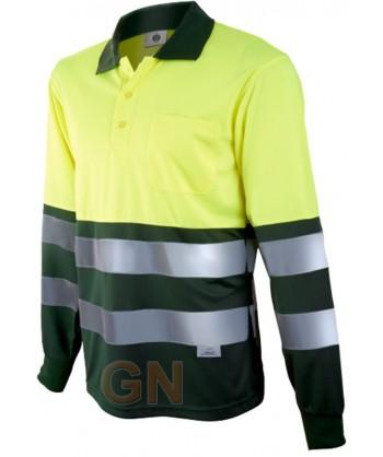 Polo de manga larga bicolor alta visibilidad verde oscuro/amarillo A.V.