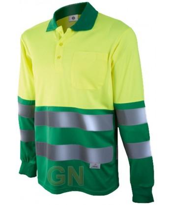 Polo de manga larga bicolor alta visibilidad verde/amarillo A.V.