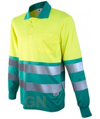 Polo de manga larga bicolor alta visibilidad verde claro/amarillo A.V.