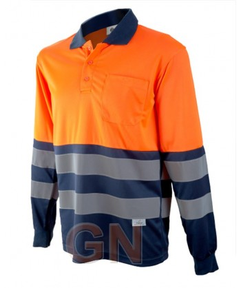 Polo de manga larga bicolor alta visibilidad marino/naranja A.V.