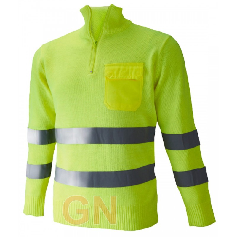 Jersey amarillo alta visibilidad con media cremallera y bolsillo