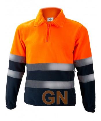 Forro polar de alta visibilidad media cremallera naranja A.V./marino