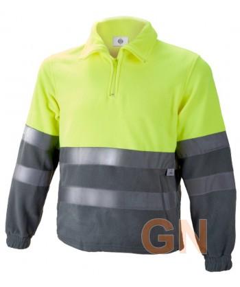 Forro polar de alta visibilidad media cremallera amarillo A.V./gris