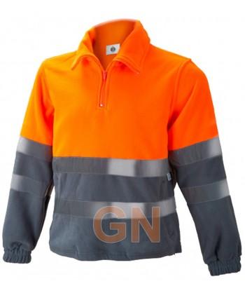 Forro polar de alta visibilidad media cremallera naranja A.V./gris