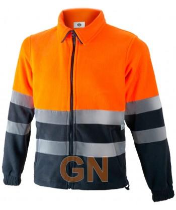 Chaqueta forro polar bicolor de alta visibilidad media cremallera naranja A.V./marino