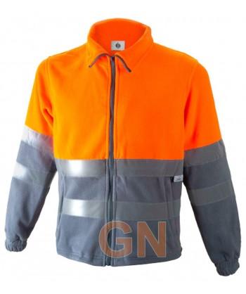 Chaqueta forro polar bicolor de alta visibilidad media cremallera naranja A.V./gris