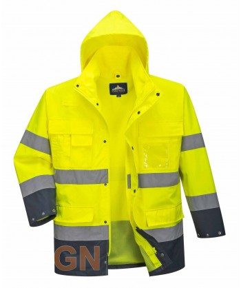 Parka alta visibilidad bicolor, desmontable amarillo A.V/marino Portwest S162