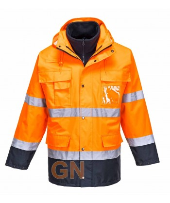 Parka alta visibilidad bicolor, desmontable naranja A.V/marino Portwest S162