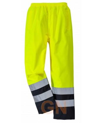 Pantalón bicolor negro/amarillo alta visibilidad para lluvia o agua