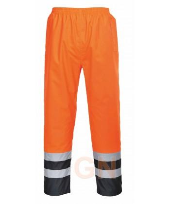 Pantalón alta visibilidad bicolor para lluvia o agua, naranja alta visibilidad/marino