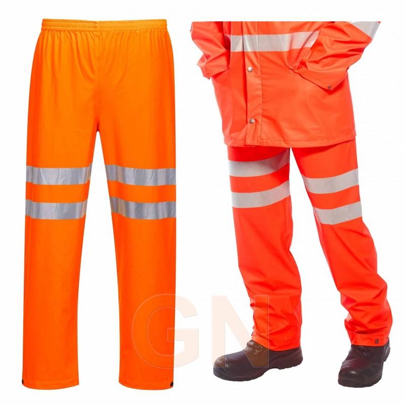 Pantalón monocolor de poliuretano naranja alta visibilidad para lluvia Portwest RT51