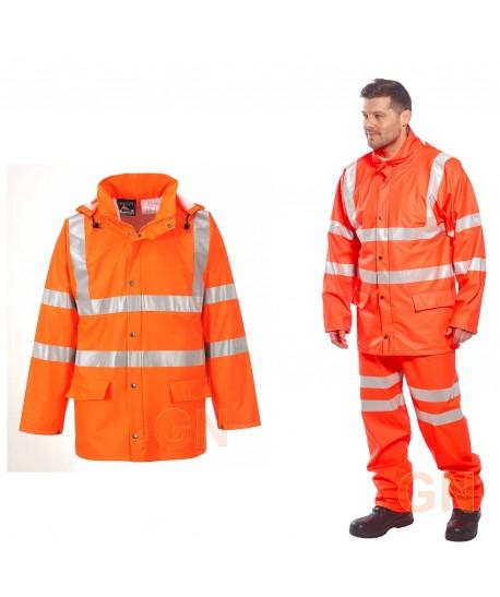 Chubasquero de poliuretano monocolor naranja alta visibilidad Portwest RT50