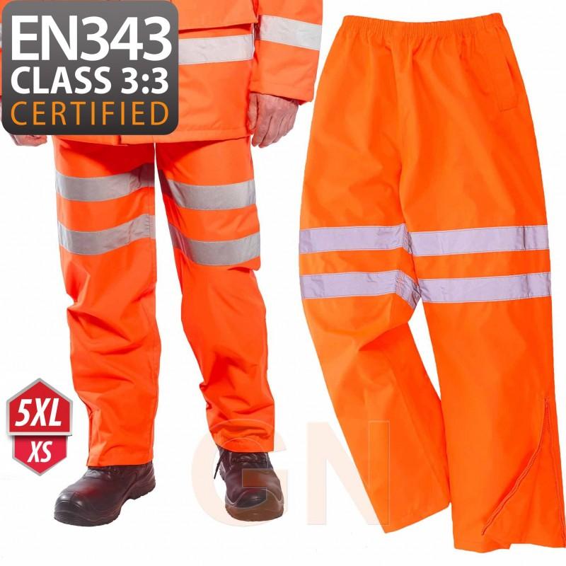 Pantalón monocolor naranja alta visibilidad para lluvia o agua