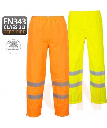 Pantalón alta visibilidad monocolor para lluvia o agua