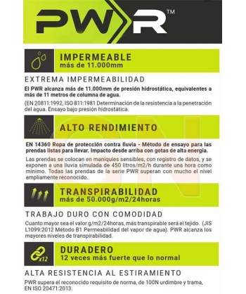 Características de los tejidos empleados