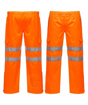 Pantalón naranja alta visibilidad con membrana impermeable y transpirable