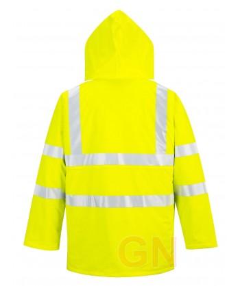 Parka de poliuretano transpirable amarillo alta visibilidad para lluvia Portwest S490