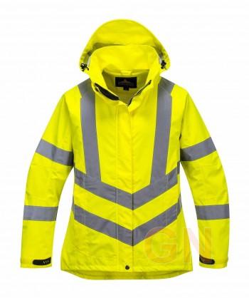 Chubasquero amarillo alta visibilidad para mujer