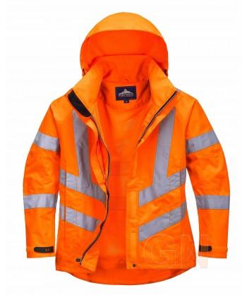 Chubasquero naranja alta visibilidad para mujer
