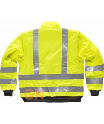 Cazadora piloto alta visibilidad clase 3 con mangas desmontables amarillo flúor