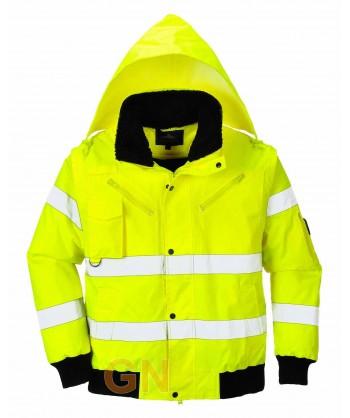 Cazadora piloto amarillo alta visibilidad con mangas y forro desmontables