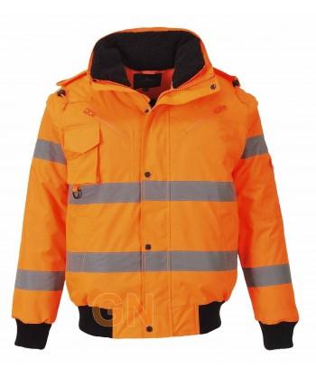 Cazadora piloto naranja alta visibilidad con mangas y forro desmontables