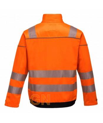 Cazadora alta visibilidad bicolor Portwest T500 color naranja con cintas segmentadas