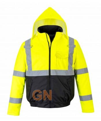 Cazadora piloto bicolor negro/amarillo alta visibilidad acolchada e impermeable