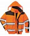 Cazadora piloto bicolor negro/naranja alta visibilidad con forro y mangas desmontables
